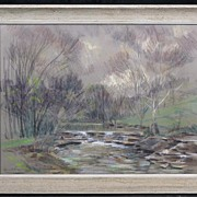 Fine 1955 Painting, Forest Interior Scene With Waterfall, by Listed WPA Artist Edward A. Fern