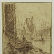 Exceptional Drawing of Harbor Scene by Fleurbaaij (1896-1975)