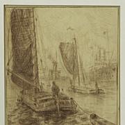 Exceptional Drawing of Harbor Scene by Fleurbaaij (1896-1975)