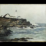 Portland Head Light Lighthouse, ME, Original Oil on Canvas by Frederick Weber