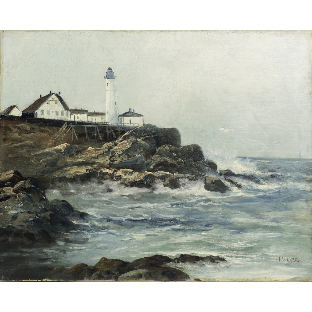 Portland Head Light Lighthouse, ME, Original Oil on Canvas by Frederick Weber