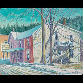 Old Galesville Hotel, Oil on Board by Wisconsin Artist J. Dewey Foss, c. 1945