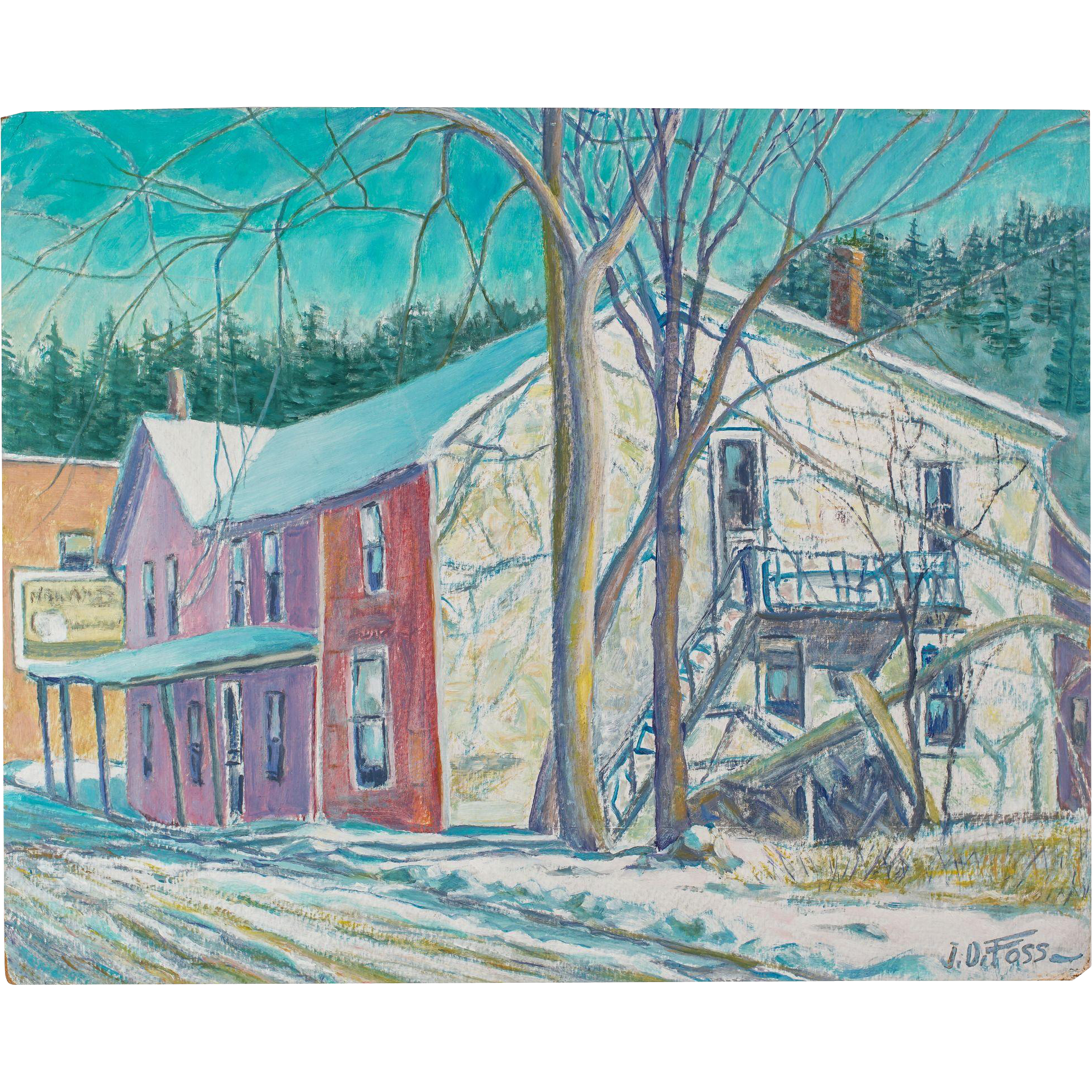 Old Galesville Hotel, Oil on Board by Wisconsin Artist J. Dewey Foss, c. 1945