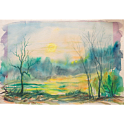 Original Sunrise Painting by Listed Wisconsin Artist J. Dewey Foss, Watercolor