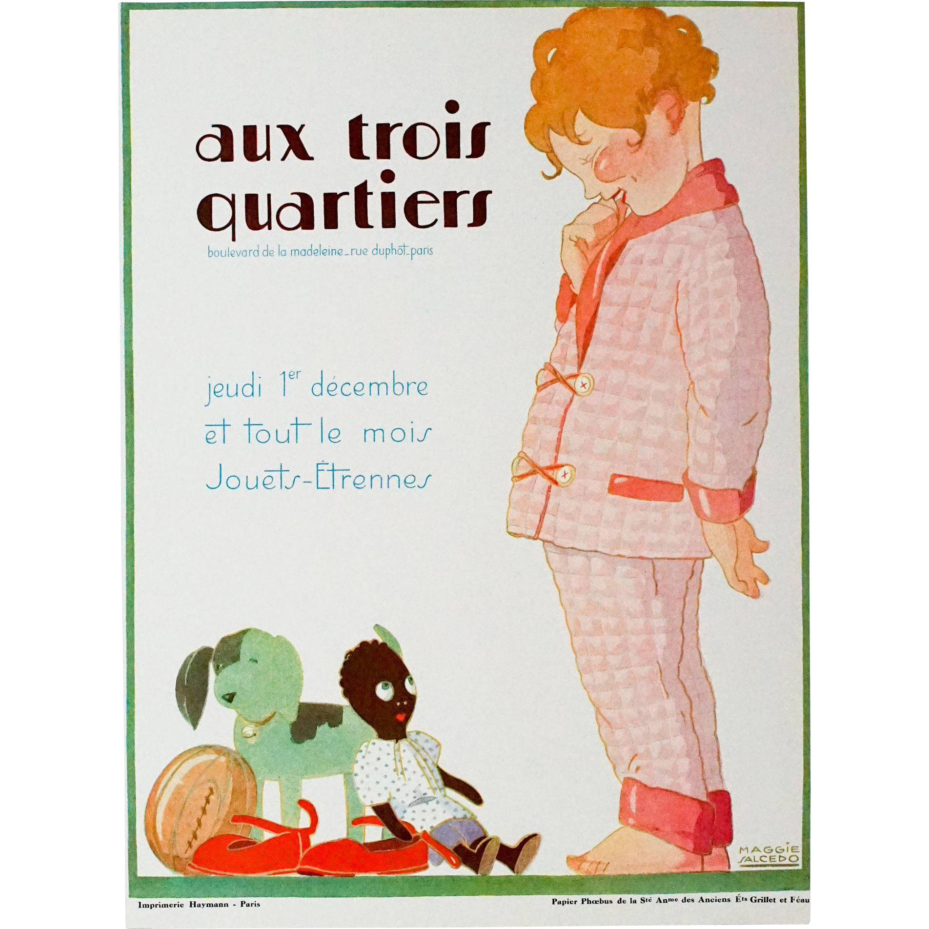 Vintage Art Deco Graphic, Aux Trois Quartiers, Signed Maggie Saucedo, Paris