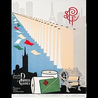 Colorful Art Deco Lithograph Advertisement Societe Francaise de Papiers Couches
