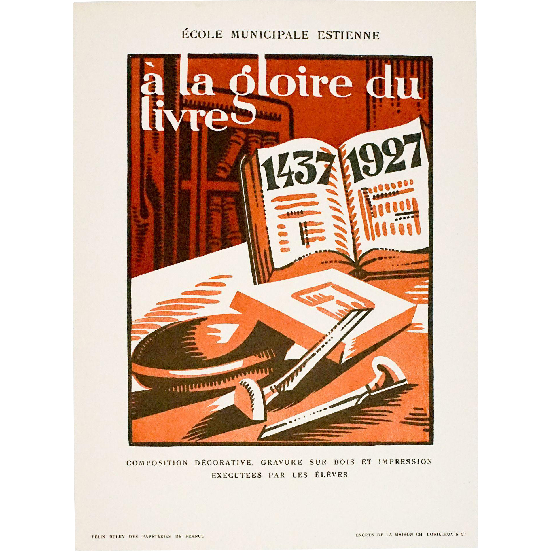 Striking Vintage Art Deco Graphic, Gloire du Livre 1437-1927