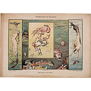 Wandmalereien Fur Badezimmer, Vintage German Art Deco Graphic, Mermaids