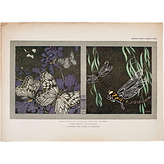 Fine Dragonfly and Butterfly Design by Wiener Werkstätte Artist Ludwig H. Jungnickel