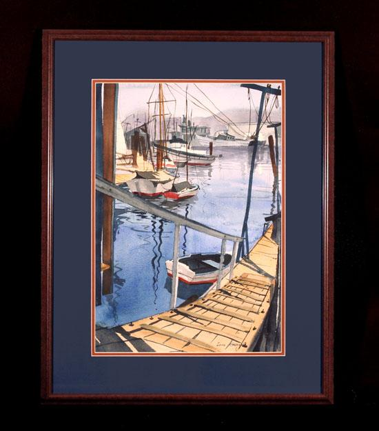 Harbor Scene by Well Listed California Style Watercolorist Lois Cohen Green