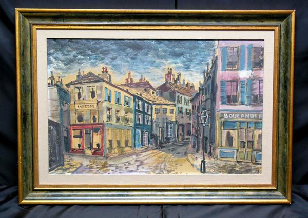 Exceptional Mid 20th Century Urban Street Scene With Figures by Listed Artist Laurence Guettoff