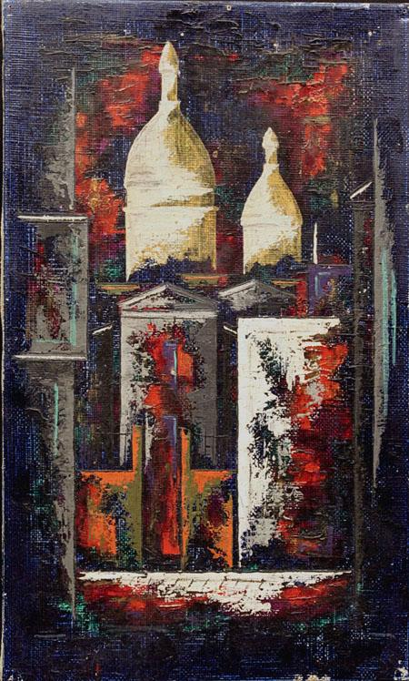 1961 Abstract Architectural Oil on Canvas Painting Signed Hansen