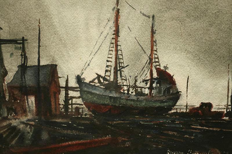 Early 20th Century WPA Style Boatyard Scene Signed Hoffman