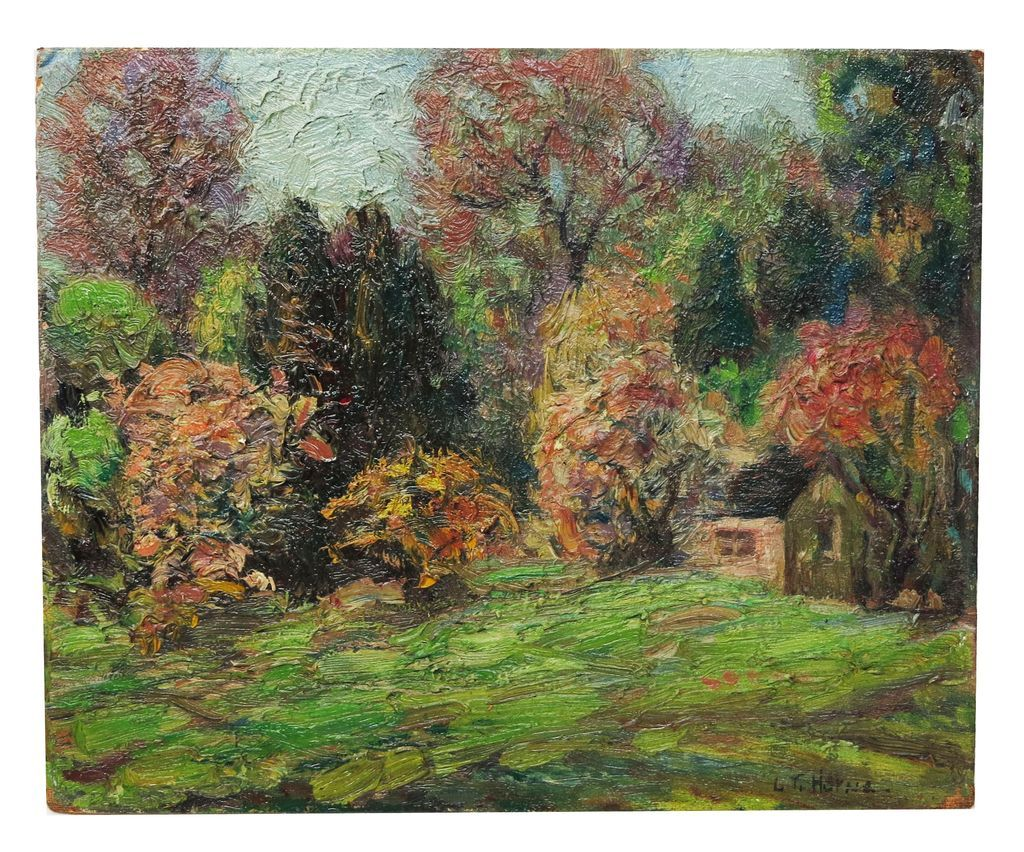 """Spring In Central Park"" NY Oil by Listed Artist Laura Trevitte Horne (1891-1958)"
