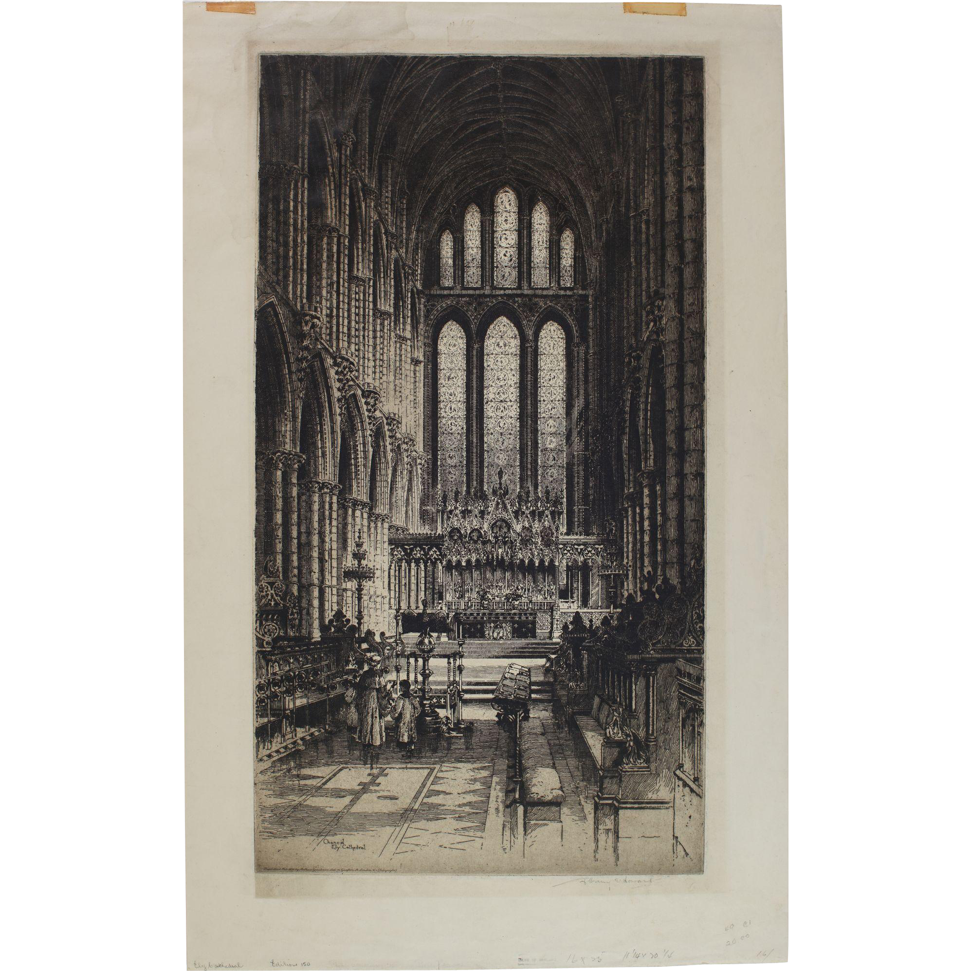 Original Etching by Albany E. Howarth, (English 1872-1936) Ely Cathedral