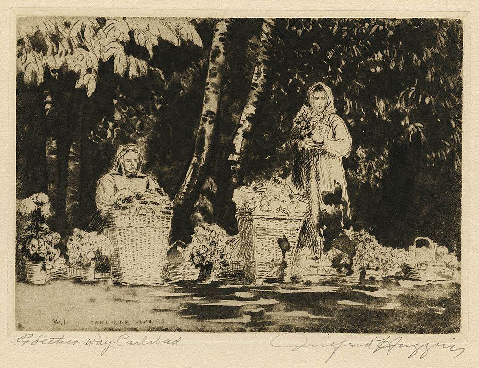 """""""Goethe's Way, Carlsbad"""" Original Etching by Wilfred Huggins 1925"""
