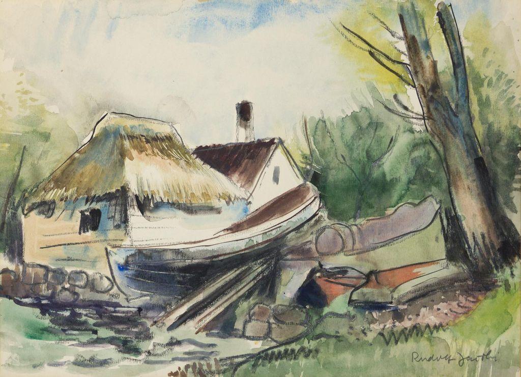 Modernist Coastal Scene by Listed NY Artist Rudolf Jacobi