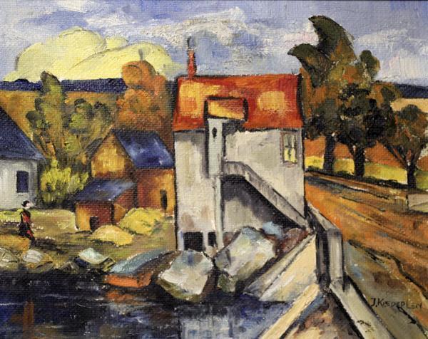 Well Done Modernist Landscape Signed Kiedeplen, Great Colors