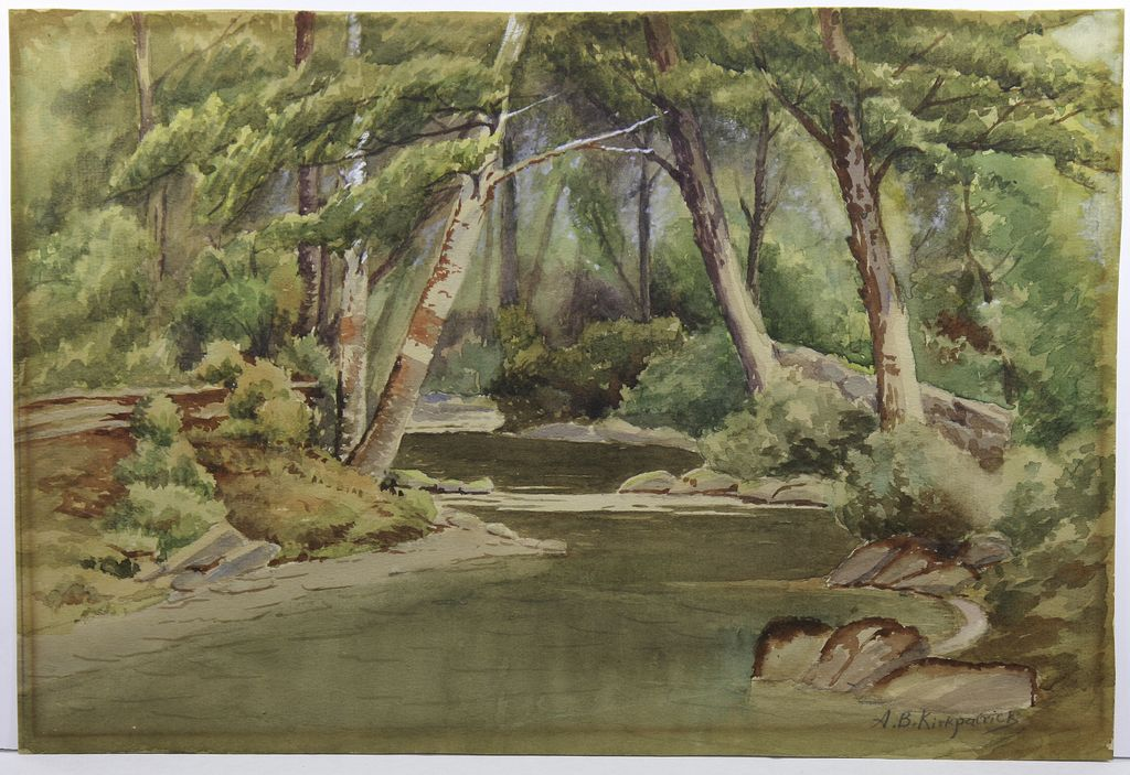 Landscape Watercolor by Listed MA Artist Mrs. A. B. Kirkpatrick