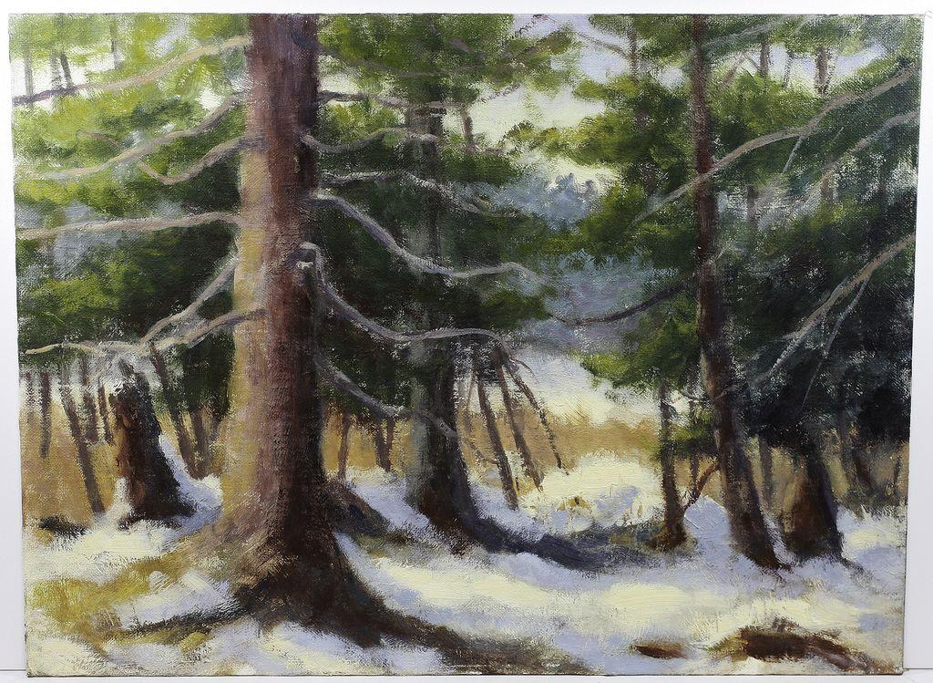 Mid Century Interior Forrest Snow Scene