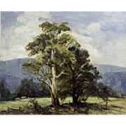 """Singleton Country"" Oil on Board by Australian Artist R. Leitch-Hennessy"