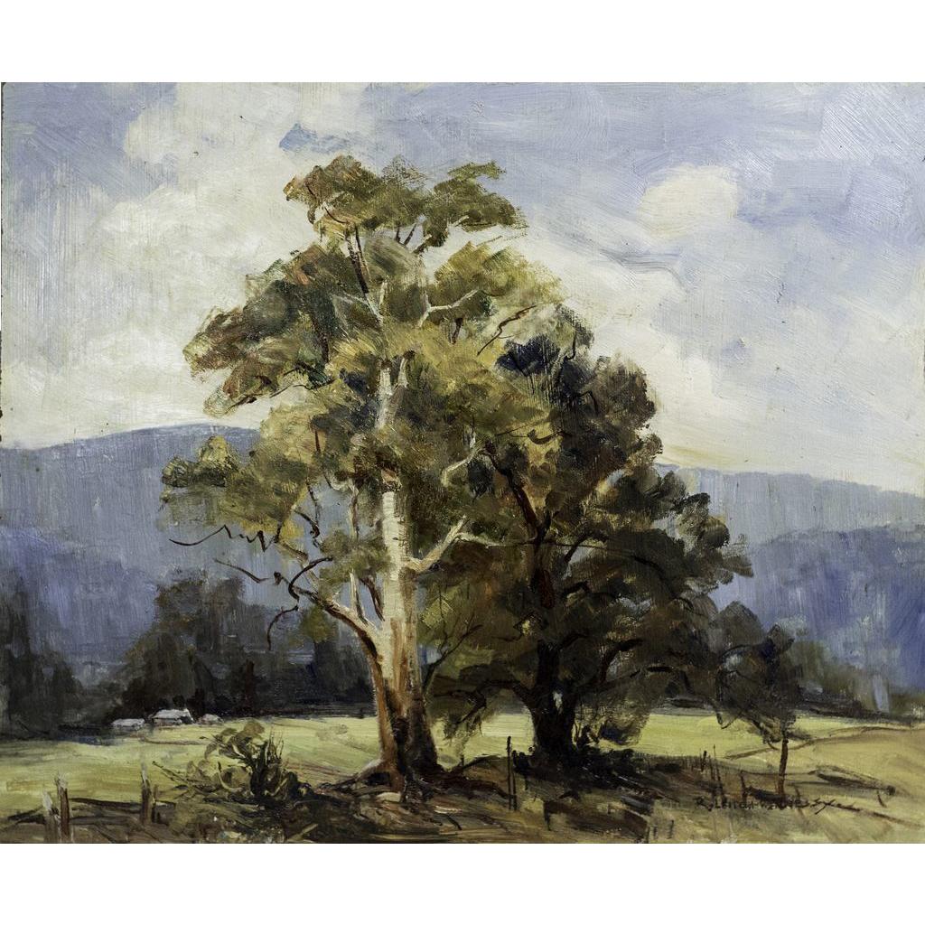 """Singleton Country"" Oil on Board by Australian Artist R. Leitch-Hennessy"