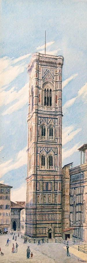 Fine 19th Late 19th Century Italian Watercolor, Campanile di Firenze (Florence), by Listed Artist S. Leoncini
