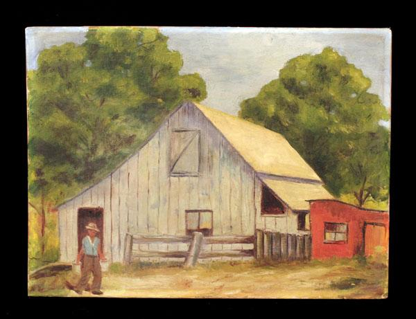 Charming Mid 20th Century Farm Scene With Figure in Front of Barn, Signed Illegibly