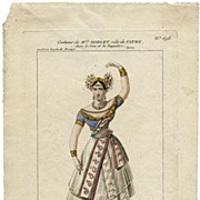 C. 1830 Hand Colored Costume Design by Maleuvre (Noblet in the Role of Fatme)