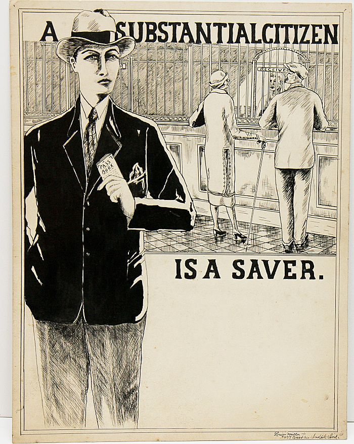 "Original Illustration ""A Substantial Citizen Is A Saver"" by Miller"