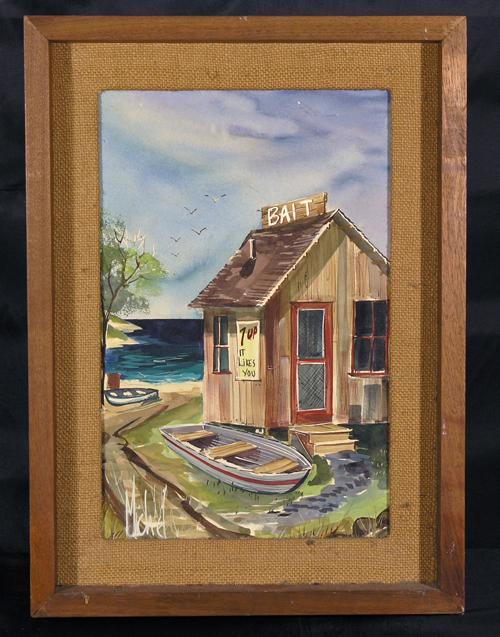 Vintage Painting of A Fishing Shack on a Lake, Signed Michel, C. 1950