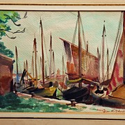 Fishing Boats, Venice by Listed MN / IN Artist Glen Mitchell (1894-1972)