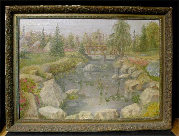Beautiful Early 20th Century Park/Garden Landscape with Flowers Signed Moore
