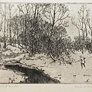 """The Rabbit Hunter"" Original Etching by Hubert Morley (1888-1951)"