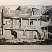 """Back Stairs Parley"" Original Etching by Listed Hubert Morley (1888-1951)"