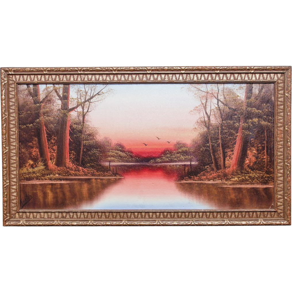 Golden Sunset, Oil Painting by Dean D. Newton (Early 20th Century)