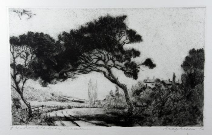 "Fine Original Etching ""Road To Nice, France"" 1940 by Listed Chicago Artist Josef Pierre Nuyttens"