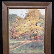 "Fine Impressionist Fall Landscape ""October"", Exhibited,  by Listed Ohio Artist Anna P. Oviate"