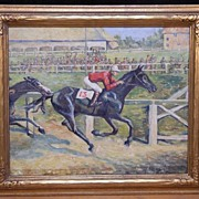 "Fine Original Oil Painting ""Lucky 13"" Horse Race by Listed VA Artist Eunice Clay Pritchett"