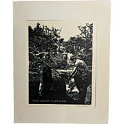 1974 Making Charcoal at Jack Daniels, Original Woodcut by Dan Quest