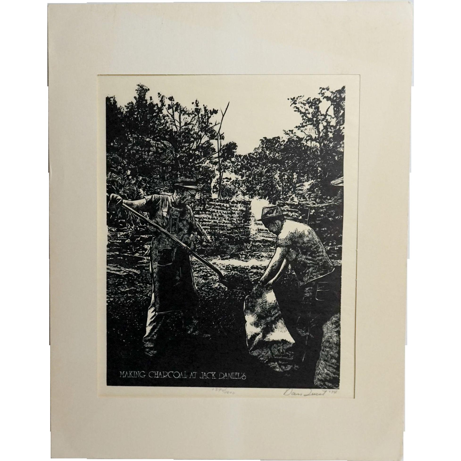 1974 Making Charcoal at Jack Daniels, Original Woodcut by Dan Quest