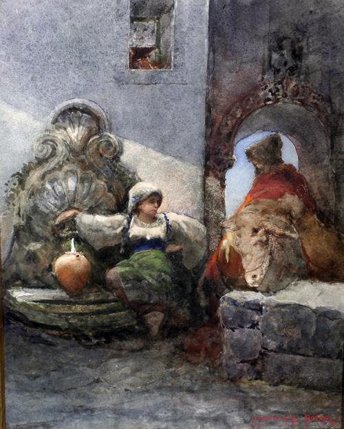 Italian Watercolor Ca. 1890 by Listed Artist Roberto Rascovich, Chicago IL