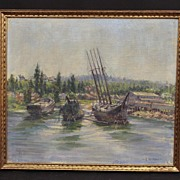 Stunning Early 20th Century American Impressionist Oil, Sailboats, Signed