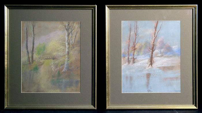 Nice Pair of Vintage Pastel Landscapes, Newly Framed, Signed Roche