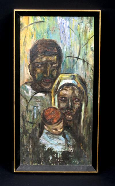 Vintage Abstract Expressionist Portrait of a Family, Indistinctly Signed