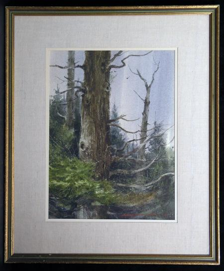 """Ontario Pines"" 1968, Exceptional Wooded Landscape Painting by Western / Ohio Artist Lowell Ellsworth Smith, AWS"
