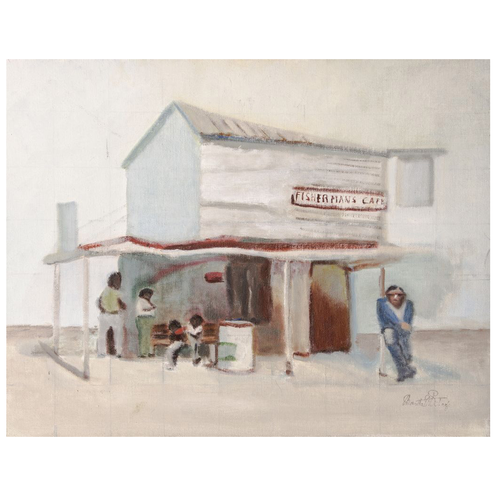 Mid Century Regional Oil, Black Figures by Fisherman's Cafe, by Martha W. Schaeffer