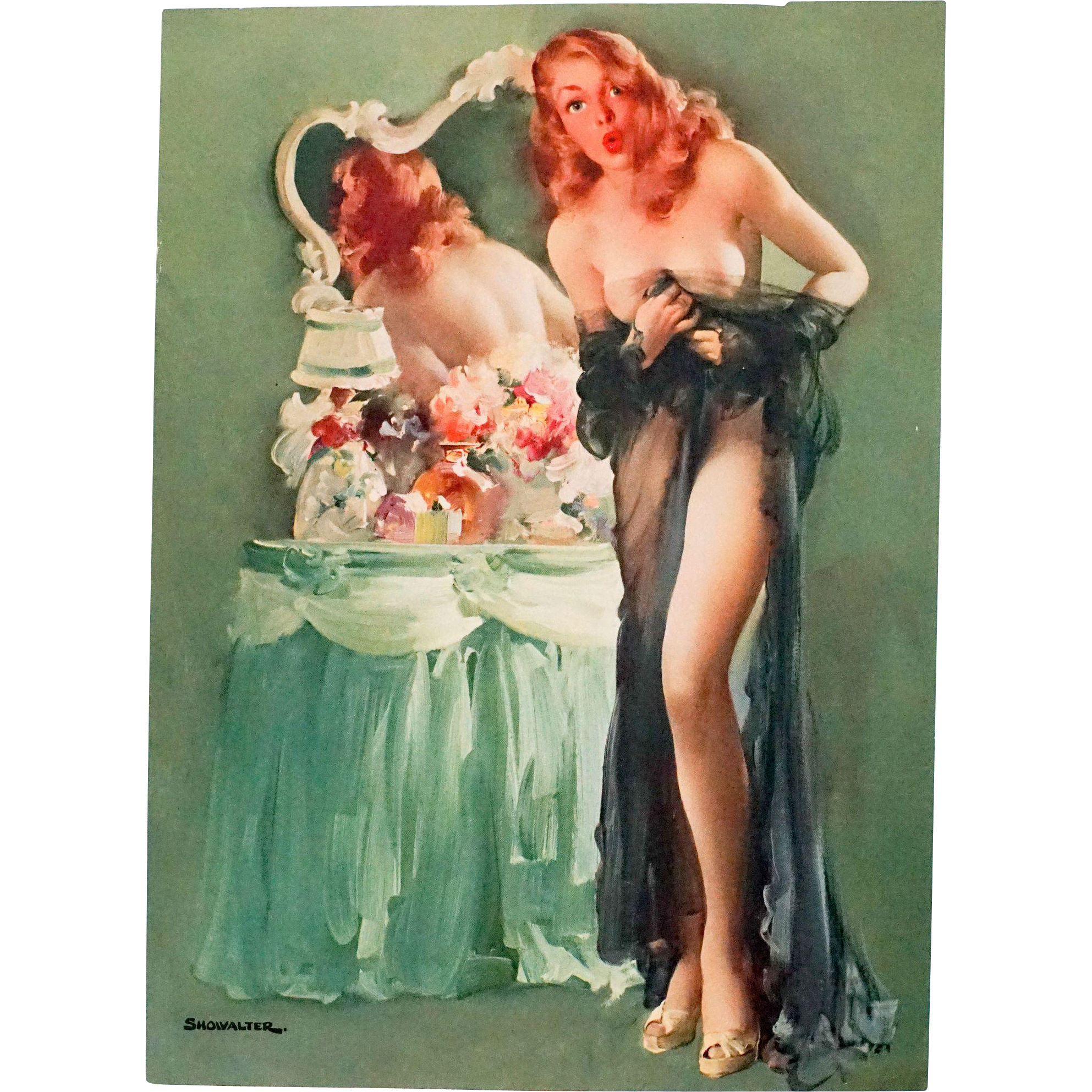 Wonderful Vintage ate 1940s/early 1950s Pinup, Sheer Surprise by Curtis Showalter