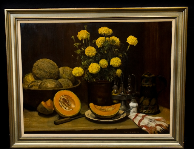 Large Still Life Oil By Listed Oh Ca Artist Robert J