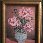 Nice Vintage 1920's Still Life Oil on Board, Flowers in a Vase, Signed Sprau